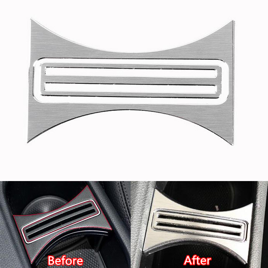 2Pcs Car Interior Console Water Cup Holder Frame Trim Cover Styling Cover For Mercedes Benz CLA C117 W117 W176 X156 GLA Class A 3pcs real carbon interior cigarette ashtray panel storage box cover trim for mercedes benz cla class c117 w117 2013 2016