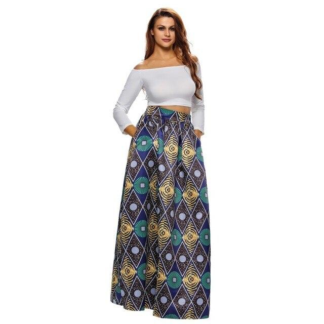 8c9dfee70be Africain Impression Maxi Jupe Longue 2017 De Mode Femmes Vintage Chic  Cercle Diamant Fleur Balle Dame