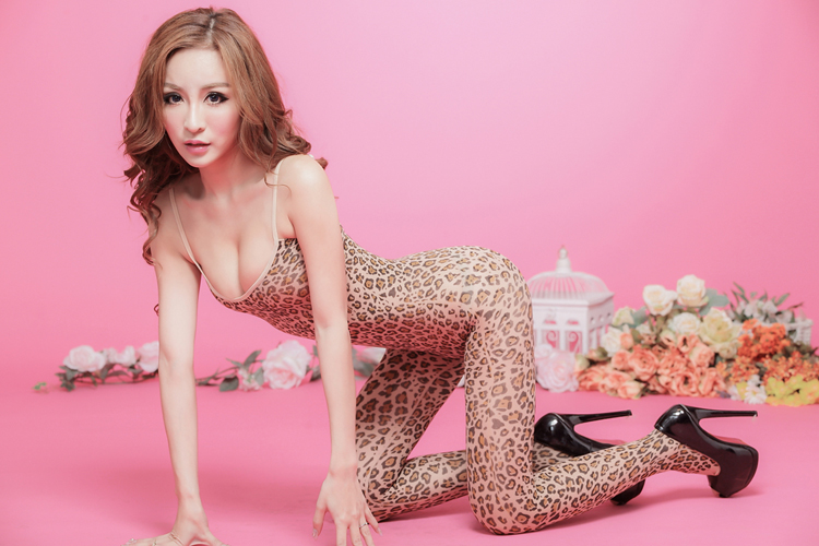 (BD004)Wild leopard print sexy open-crotch multicolour coveralls socks tight women's temptation Bodystocking Lingerie