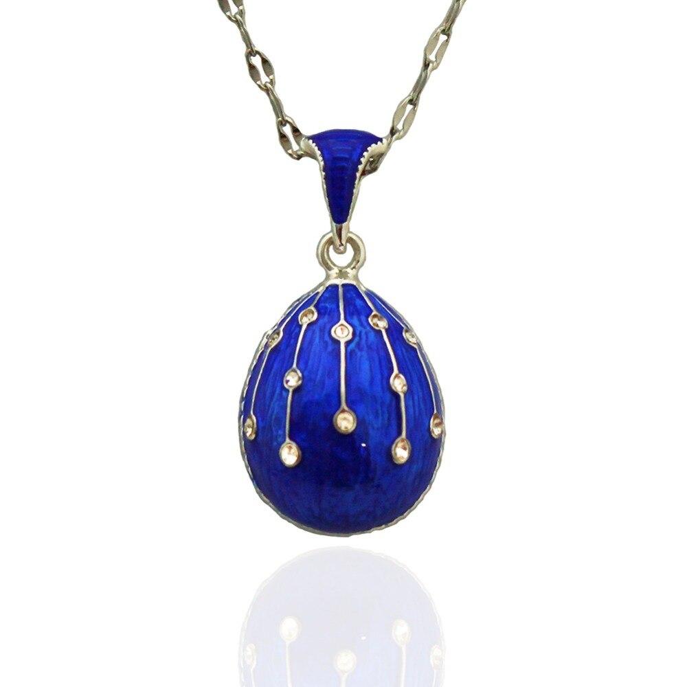 Más caliente de la joyería de latón esmalte hecho a mano de Pascua ruso Vintage huevo colgante encanto collar de diamantes de imitación de cristal regalo para las mujeres