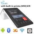 Ts-7002 portátil de mano wifi bluetooth 3 G nfc android reader lector de tarjetas lector de código de barras con una función de 58 mm impresora de tickets térmica