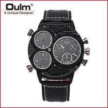 2016 Новых Людей Прибытия Дизайн Продавать Фабрики Наручные Часы Oulm Марка Горячая Модель HP3594-2 Три Часовой пояс Моды Случайные Стиль