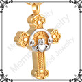 MJD8316 Memorial Pet/Human Jewelry Golden Plating Hold Crown Heart In Cross Urn Keepsake Cremation Ashes Pendant