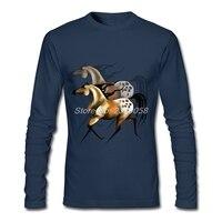 Brand Clothing Mens Shirt Running Horse Shadowed Printed Long Sleeve Crew Neck Tee Organic Cotton Sale