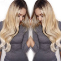 Fashion New Long Wave  Blonde Ombre Wig Dark Roots Synthetic Lace Front Wigs Heat Resistant Black/BlondeTwo Tone Hair For Women