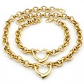 Mulheres Conjuntos de Colar + Pulseira Conjunto de Jóias para 2016 Aço Inoxidável Partido Banhado A Ouro cadeia Pingente de Coração Charme bijoux presente