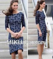 лето весна платье элегантный 3/4 длинным рукавом тонкий-подходят bodycon платье с вышивкой и кружевами платье плюс принцесса синий чешские платья для женщин