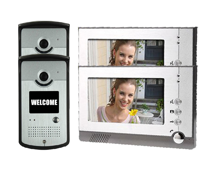 Yobang Security 7 LCD Monitor Wired Video Intercom Doorbell System For 2 Units Apartment For Villa Home Wall Clock Camera,
