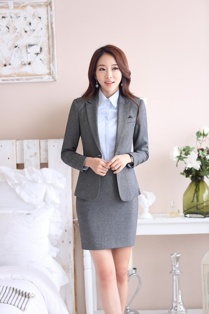 Formal Gray Blazer Women Skirt Suits Jacket Sets Office Las
