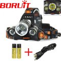 3T6 8000LM Boruit RJ-3000 3x XM-L T6 LED USB Headlight Head Lamp Flashlight Torch Lanterna Headlamp+Battery/USB Cable