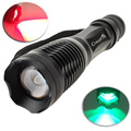 Crazyfire E5 rojo verde blanco luz con zoom CREE Q5 linterna táctica LED 5-Mode linterna antorcha para caza pesca exterior