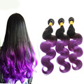 Full Shine New Arrival Hot Product Brazilian Remy Hair Body Wave Two-toned Color Weave Three Bundles 1B Purple Ombre Hair Weft