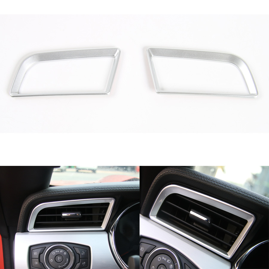 YAQUICKA 2Pcs/set Car Dashboard Left and Right Air Vent Frame Trim Cover Styling Fit For Ford <font><b>Mustang</b></font> <font><b>2015</b></font> 2016 ABS <font><b>Accessories</b></font> image