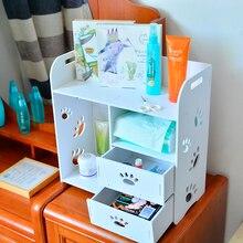 Urijk Wood Plastic Bathroom Makeup Cosmetics Storage Box Multi Layer With Drawer  Storage Holder Bath Product Container Organizer