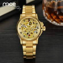 Essential 2016 New Fashion MCE Women Crystals Wrist watch mechanical skeleton gold automatic Ladies Watch with box 345
