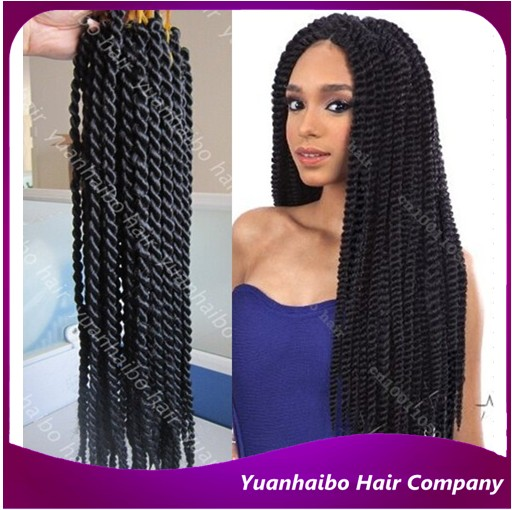 Stock 24 120g Pk Synthetic Hair Afro Twist Black Crochet Braid Single