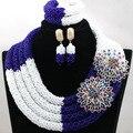 Exclusive 4 Camadas Branco e Azul Cheio Noiva Colar Conjunto de Jóias de Casamento Africano Nigeriano Beads 2017 Frete Grátis WA889