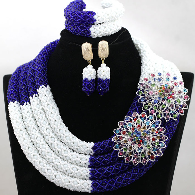 Exclusive 4 Layers White and Blue African Bride Full Necklace Jewelry Set Wedding Nigerian Beads 2017 Free Shipping WA889