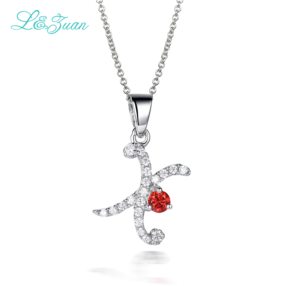 925 silver Woman Zircon Pendants Necklaces Trendy Charm Letter X Fine Jewelry 0.48ct Gemstone with Link chain For gift