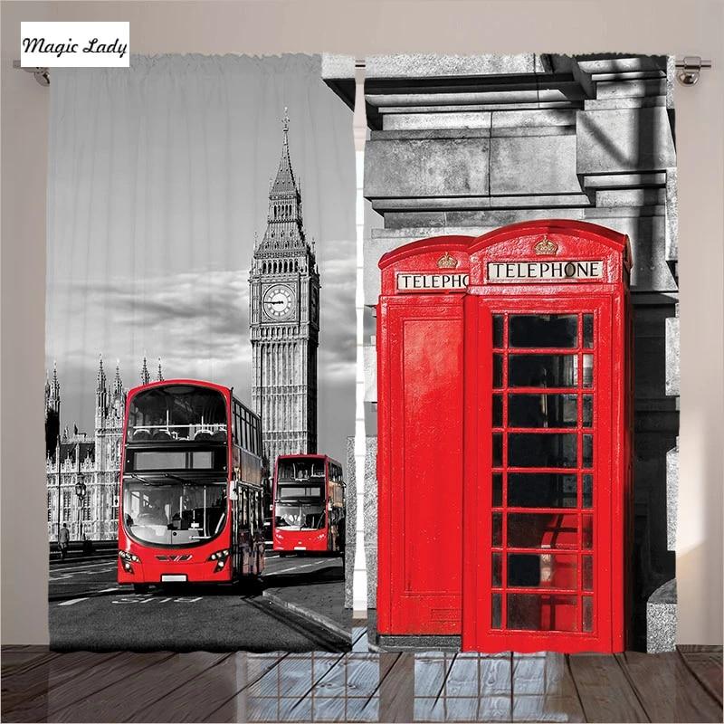 3d britannique rideaux blackout fenetre rideau rideaux londres rue angleterre rouge gris salon chambre 2 panneaux ensemble 145 265 sm