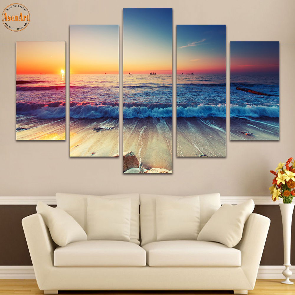 5 panel wall art seaside landscape painting sunset seascape canvas prints home decor picture for - Home decor picture ...