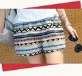 M-XXL 2017 лето материнства национальная тенденция хлопок белье шорты беременных женщин красочные волны полосатый живот шорты мода для брюк