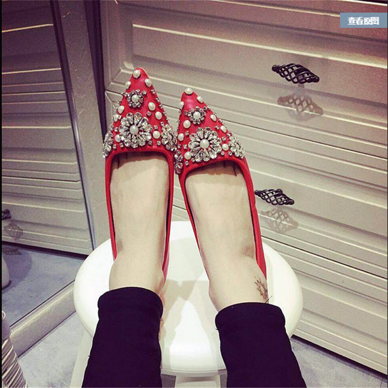 New 2016 Spring Women Shoes Rhinestone Flowers  Pointed Toe Flat With Boat Shoes Wedding Shoes For Party #2947 от Aliexpress INT