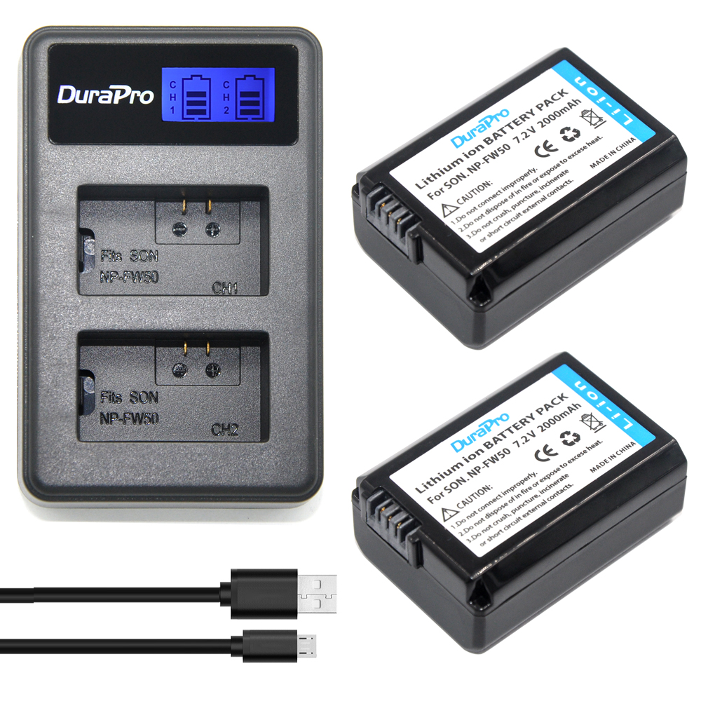 2x2000 mAh NP-FW50 NP FW50 NPFW50 Batterie + LCD Double Chargeur Pour Sony Alpha a6500 a6300 a7 7R a7R a7R II a7II NEX-3 NEX-3N NEX-5
