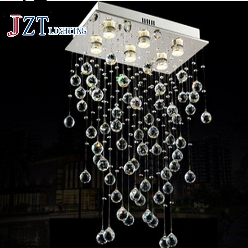 T Modern Best Price LED Modern Lustre Crystal Light Foyer Dining-room Droplight Pandent Lamp For The Stairs Height800mm t best price modern lustre rectangular crystal chandeliers for dining room pandent lamp with led bulbs for entrance aisle