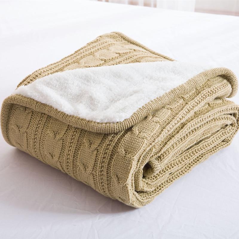 Baratos nueva manta suave y c lida de lana de punto de for Mantas de lana hechas a mano