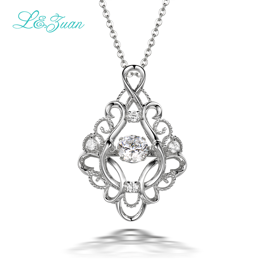 I&zuan 925 Sterling Silver Pendant Necklace For Women 2.06ct Diamond Japan Original Smart Series Move Stone Retro Necklaces 0618