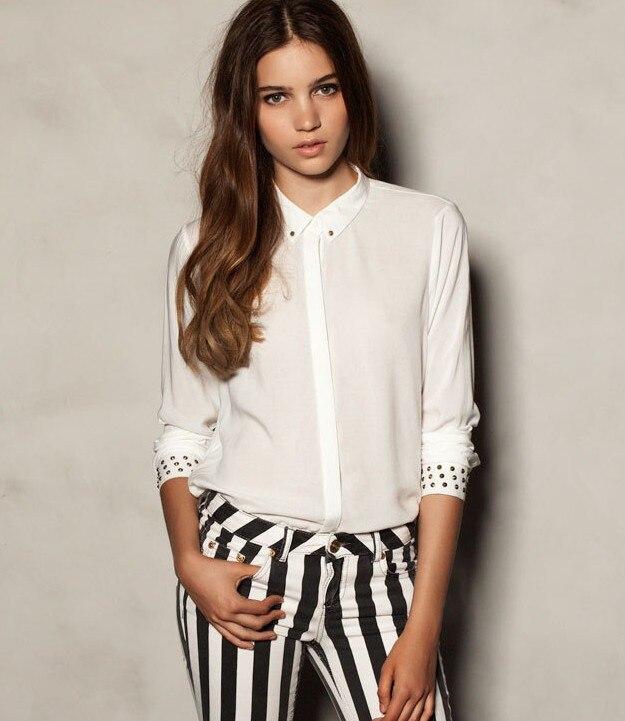 ST221 New fashion womens' OL Classic White blouses elegant metal ...