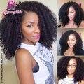 Afro Kinky Curly Glueless Full Lace Wigs Virgin cabelo humano brasileiro Kinky Curly peruca dianteira do laço para as mulheres negras com cabelo do bebê