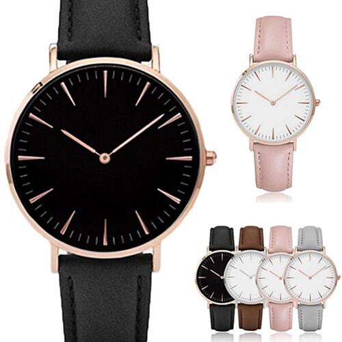 Women Men Casual Luxury Quartz Analog Faux Leather Band Wrist Watch faux leather quartz wrist watch
