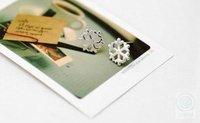 бесплатная доставка 10 мм мода стиль адаптации блеск сплав серебра снежинка серьгу, we009; мин. смешанный заказ $ 10