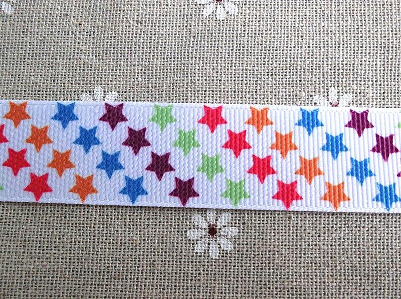 2013 Новое поступление 7/8 ''(22 мм) Радужная звезда напечатанная лента grosgrain лента характер 50 ярдов