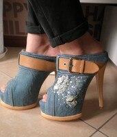 классический жан джинс материал платформы тапочки женская открытым носком 14 см туфли на высоких каблуках, с открытым носом стилет, сандалии, свадебные туфли