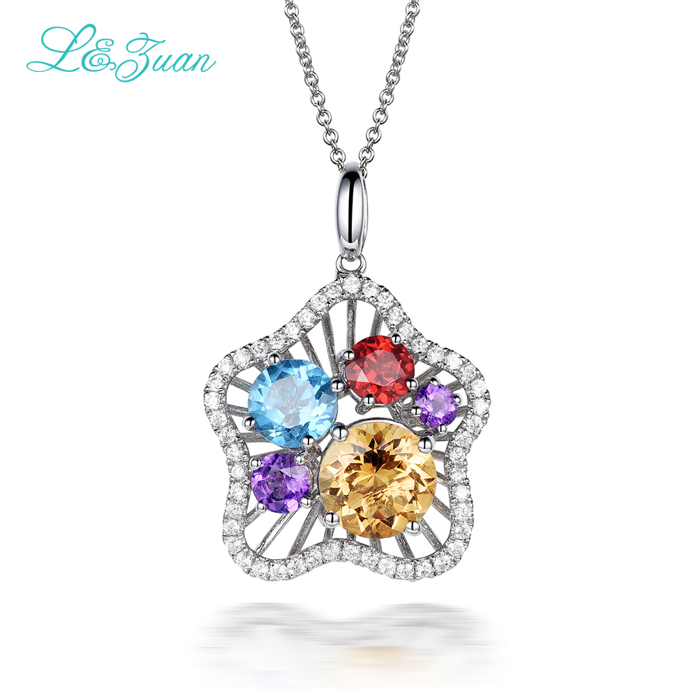l&zuan S925 silver woman Pendant 1.79ct Citrine With Various Gemstone Four Colors Star Fine Jewelry necklace Gift Black Friday