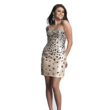 Shaped strass kurzes party-kleid in champagne cocktailkleid dünnen trägern nach maß