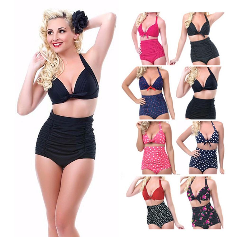 2017 Push Up Women Sexy Biquini Floral Print High Waist Bikini Set Plus Size Swimwear Female Bathing Suit Swiming Suits