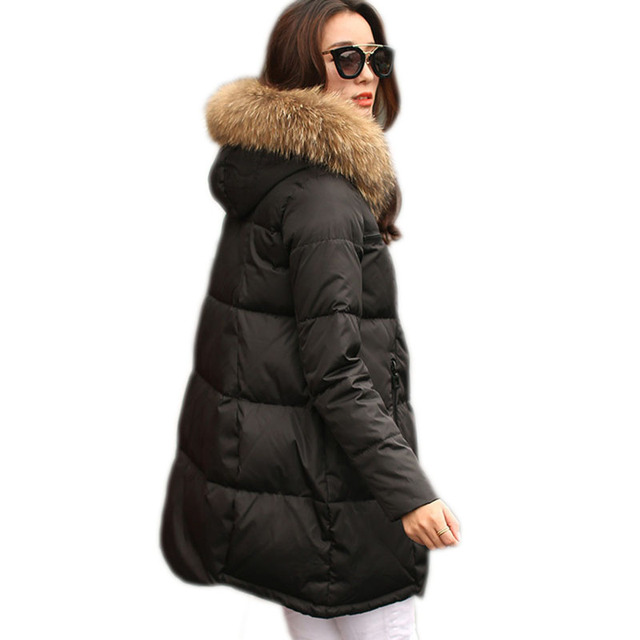 2016 Nova Moda Com Capuz De Pele Parkas Para As Mulheres Inverno Pato Para Baixo Casaco Longo Plus Size Espessamento Outerwear Jaqueta Feminina ZL3473