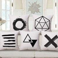 New Cotton Linen Decorative Pillow Case Home Seat Pillowcases Black And White Geometric 45x45cm Cojines mq24