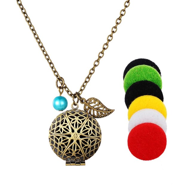 Funique gaskets perfume chain locket pendants necklaces women aroma funique gaskets perfume chain locket pendants necklaces women aroma essential oil chain aromatherapy necklace aloadofball Images