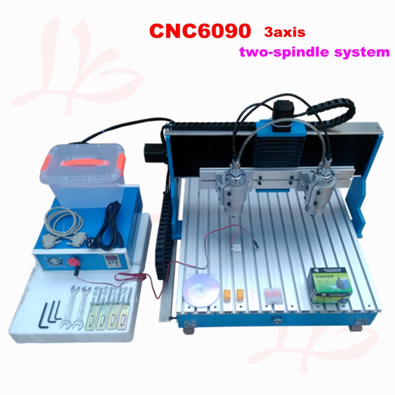new arrival 800w double spindle 3 axis cnc machine 6090 mini CNC engraving machine with linear guide rail shivaki sfh 604be suh 604be