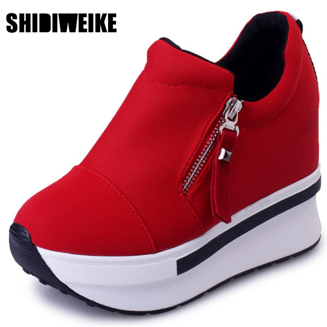 8d7e7756ebf SHIDIWEIKE Wedges Women Boots 2019 Platform Shoes Woman Creepers Slip On  Ankle Boots Fashion Flats Casual Women Shoes B348