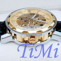 мужские швейцарские часы золотые тона скелет авто кожа подарок! бесплатная доставка