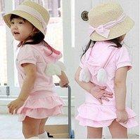 розовый костюм / короткие рукава с ангел crl плюсы короткое платье / нью-арривер
