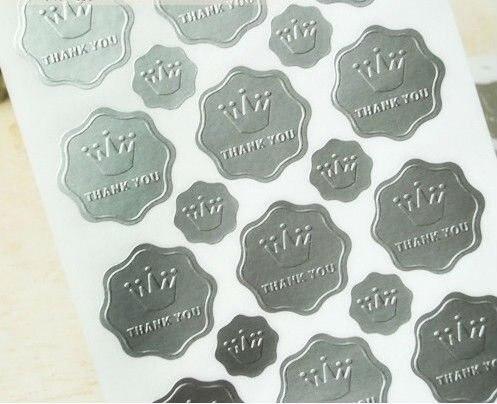 Wedding Silver Embossed Foil Invitation Envelope Seals Sticker 23pcs Sheet 40 Sheets