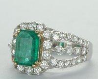 Verde 18 к белого золота и получить прод 2.2 кт Колумбии изумруд Brilliant Brutal кольцо