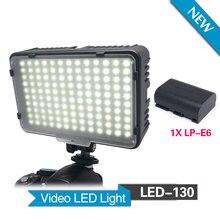 Mcoplus 130 luz de vídeo LED con 1 unids LP-E6 batería para Canon Nikon Sony Pentax Panasonic Samsung Olympus y DV videocámara de la cámara